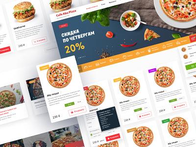 Cafe Abu Pizza - Pizza Delivery Website Design foodie banner shop ecommerce website halal menu food delivery burger pizza food hero header page interface web design ux landing ui