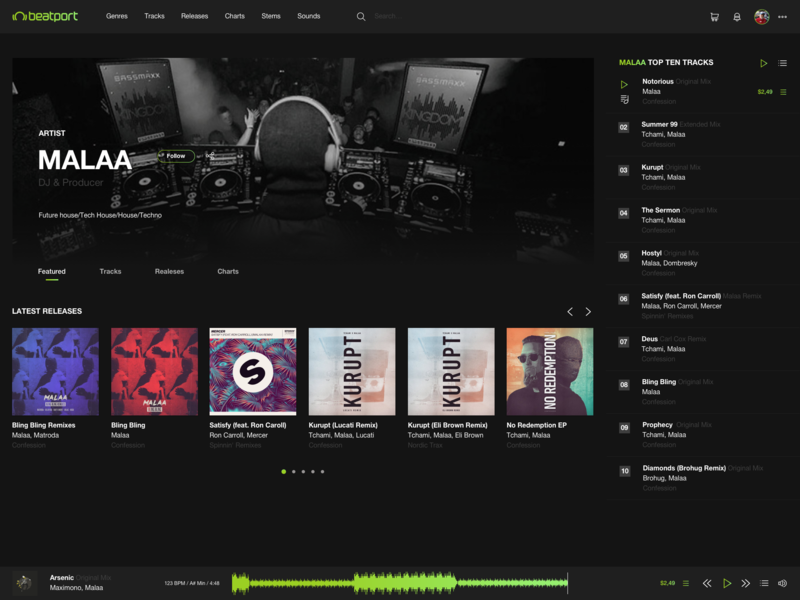 Beatport Redesign Concept - Artist page minimal concept website typography web ux ui flat design app