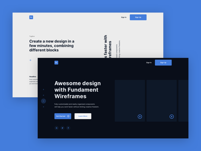Fundament Web Wireframe Kit II website web ux ui typography minimal flat design concept app