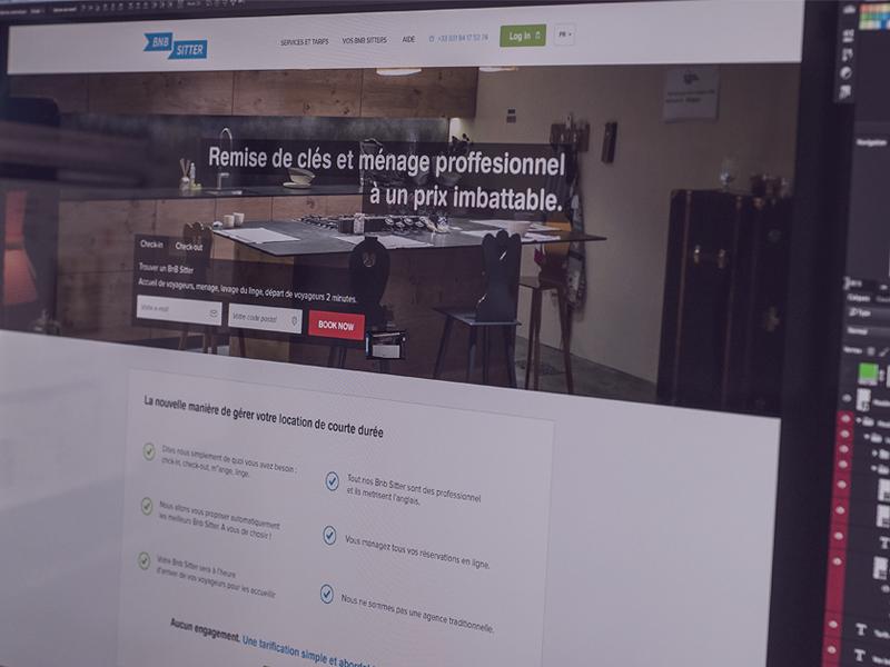 Bnb Sitter - Home page bnb sitter website responsive mathieu sh clean design ui imac ipad odin