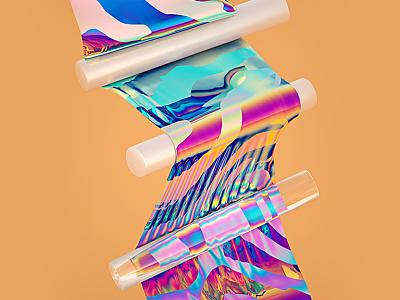 Oh My Pastel #03 holographic orange glossy sphere cloth digital art design cinema 4d 3d illustration rainbow machineast pastel