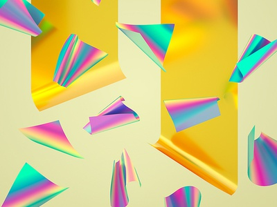 Rainbow Paper Series #01 abstract holographic machineast rainbow 3d illustration cinema 4d design digital art gold paper