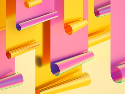 Rainbow Paper Series #02 abstract holographic machineast rainbow 3d illustration cinema 4d design digital art gold pink paper