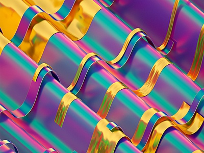 Rainbow Paper Series #04 art abstract illustration 3d cinema 4d holographic colors gold machineast paper rainbow