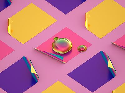 Drops #01 gold purple pink pastel rainbow iridescent art digital art 3d machineast cinema 4d drop