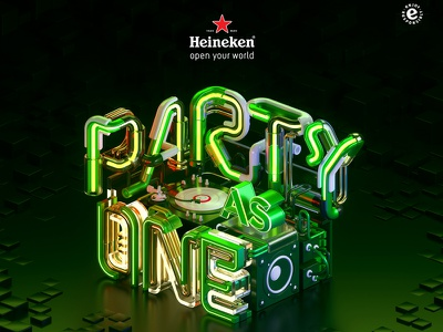 Heineken - Party As One c4d otoy octanerender dj graphic design 3d 3d typography pipe one party