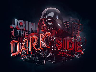 Join The Dark Side octane cinema4d c4d 3d typography dark side star wars vader darthvader machineast