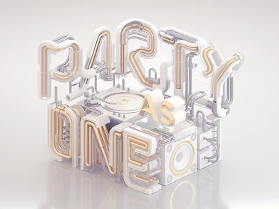 Heineken - Party As One (White & Gold) gold white party one pipe 3d typography 3d graphic design dj octanerender otoy c4d