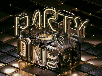 Heineken - Party As One (Black & Gold) gold black party one pipe 3d typography 3d graphic design dj octanerender otoy c4d
