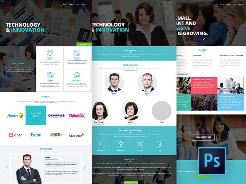 Corporate Website Design - Free PSD corporate .psd technology ux ui website psd
