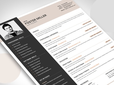 Resume ui ux biodata job employment curriculum vitae template print design resume cv