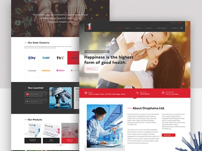 Onephama Homepage Design homepage web trend web template website web ux design ui design template pharmaceutical pharma medicine