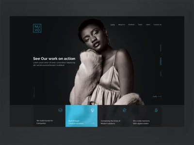 Nuvo creative homepage template typography hero digital web website ui ux product layout landing design business