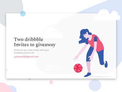 2x Dribbble Invites dribbble player isometric invites invite invitation illustraion giveaway draft 2 invites