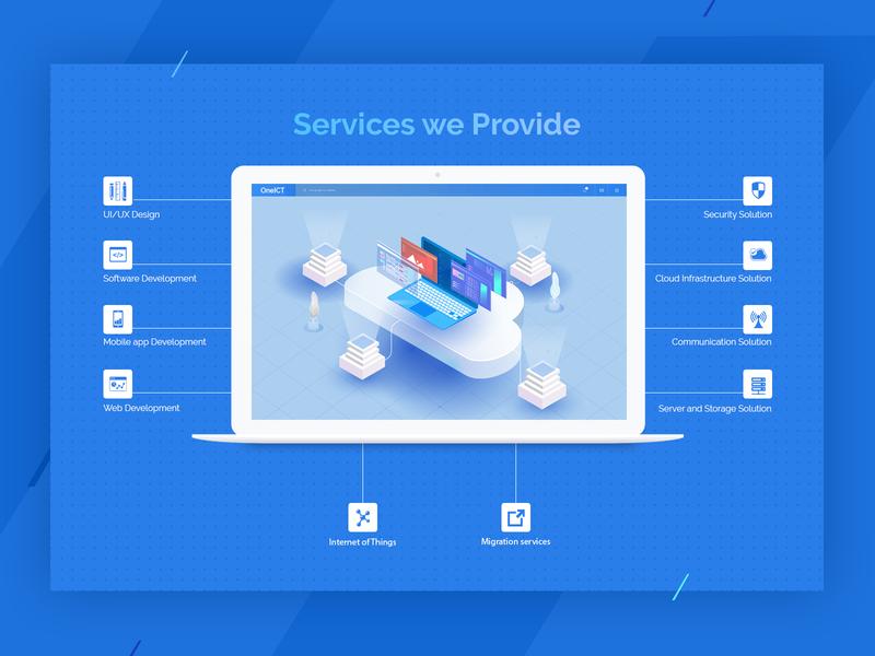 Illustration for ict Service Provider networking web  design business minimalism ux ui strategy analytics ict vector design creative website illustration