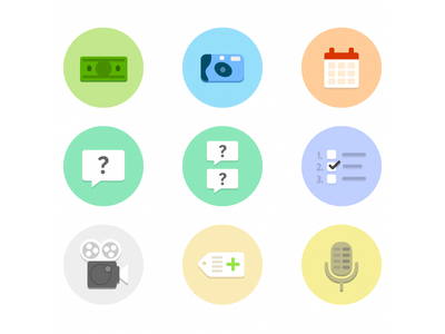 Flat Icons flat icon camera money calendar questions mic video tag fireworks