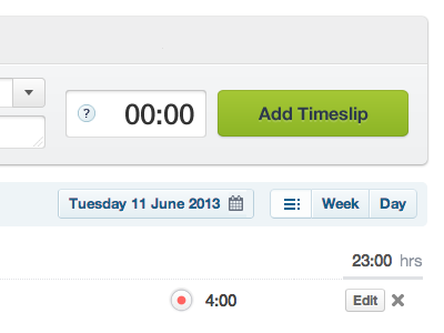 Add Timeslip time timeslip record