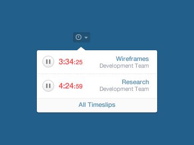 Multiple Timers Menu menu timer drop down pause timeslip time