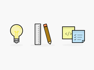 About Me Icons lightbulb think design pencil ruler post it note icon illustration