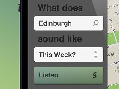 Soundscape - sneak peek retina app ios sentance listen button menu map green search iphone