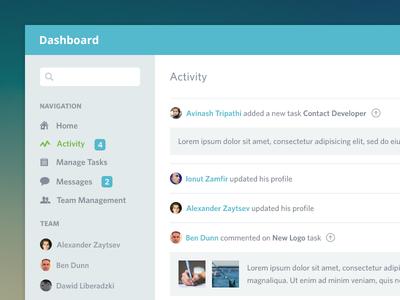 Dashboard Activity ui clean flat admin team dashboard activity ikons