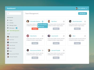 Dashboard Team ui clean flat admin team dashboard ikons