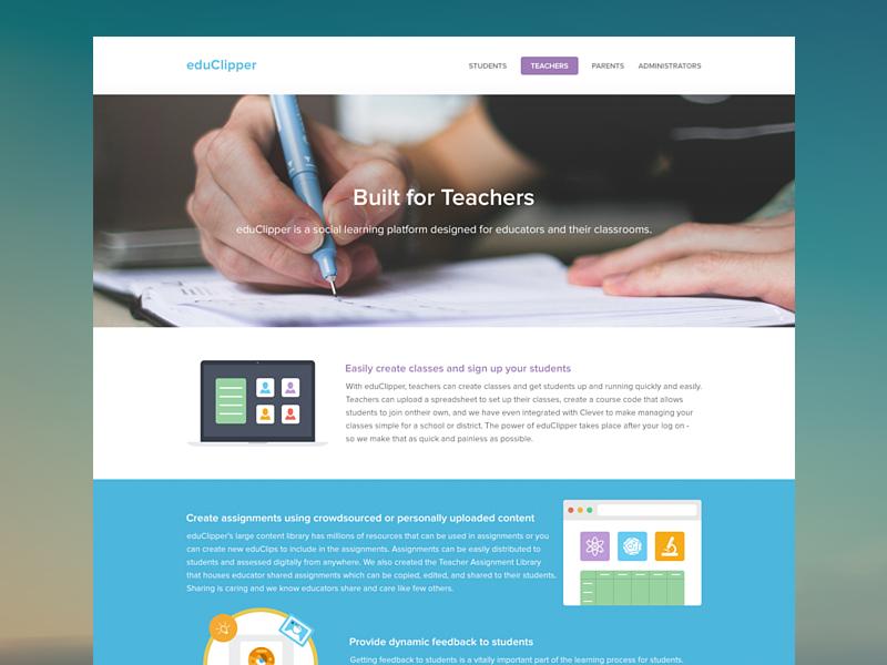 Teachers Page ui ux clean webdesign teachers features education learning client