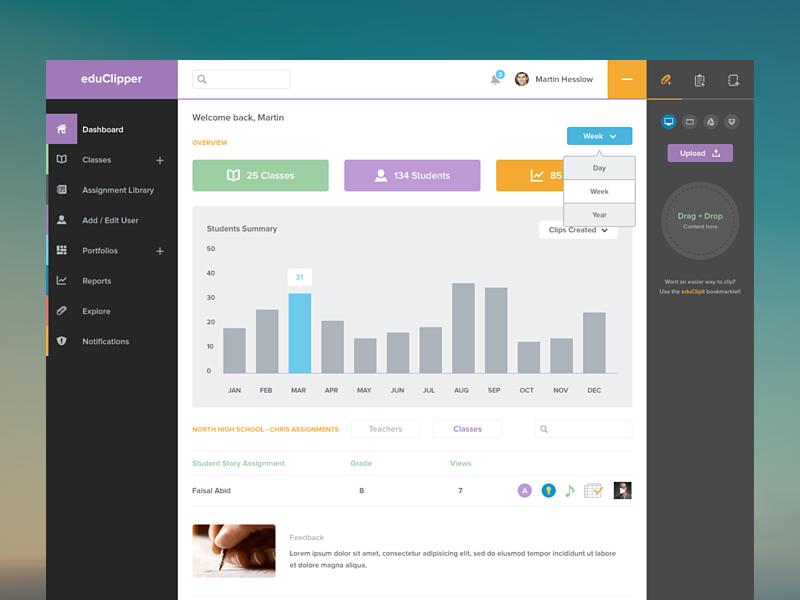 Admin Dashboard ui ux clean dashboard admin education learning client