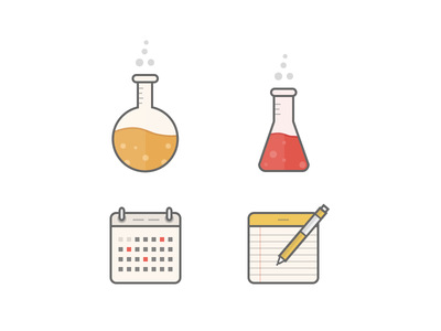 Illustrations icons science clean illustrations
