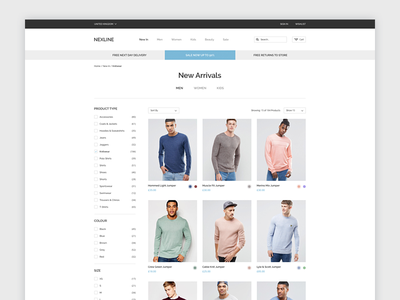 New Arrivals clean ui website ecommerce