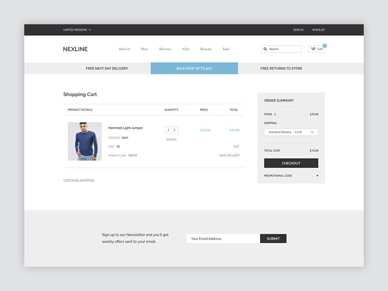 Shopping Cart clean ui website ecommerce