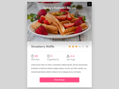 Recipe Card design recipe clean ux ui