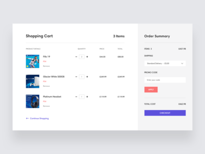 Shopping Cart cart shopping clean ux ui
