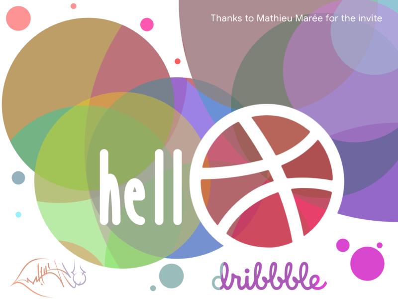 Hello Dribbble ball colors debut illustration gimp