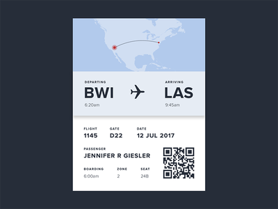 Daily UI #024: Boarding Pass qr code travel plane boarding pass map dailyui024 ui ui design daily ui dailyui
