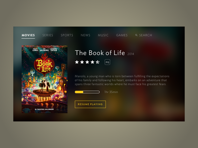 Daily UI #025: TV App daily ui smart tv movie book of life app tv dailyui025 ui ui design dailyui