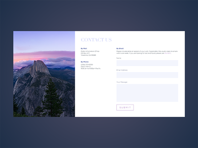 Daily UI #028: Contact Us tourism mountains form design form contact us contact ui ui design dailyui028 daily ui dailyui