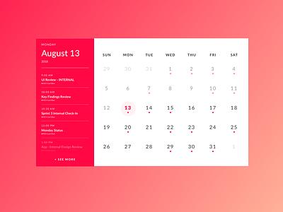 Dail UI #038: Calendar ui design calendar dailyui038 dailyui ui daily ui