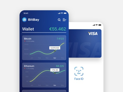 BitBay – Concept of Cryptocurrency App cryptocurrency bitcoin exchange app ios wallet finance ui design