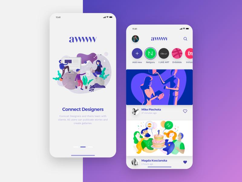 AWWW – Concept App design ui ios app dribbble instagram slack concept ux login illustration user vector modern