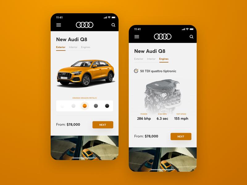 Audi – iOS eCommerce App (WIP) design ui ios app dribbble audi car concept ux modern orange ecommerce cart black vector colour picker button icons