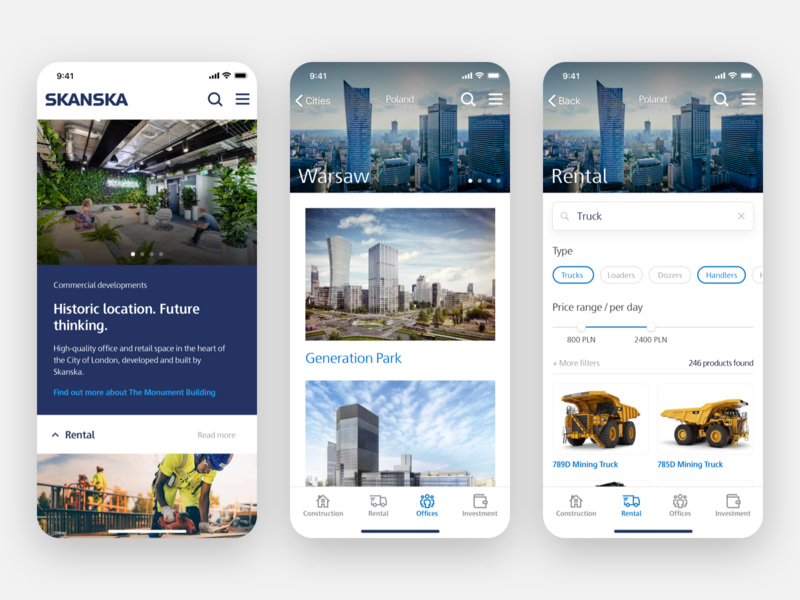 Skanska Rental App product card color picker button ui real estate concept app concept ecommerce sketch product design ios app rental