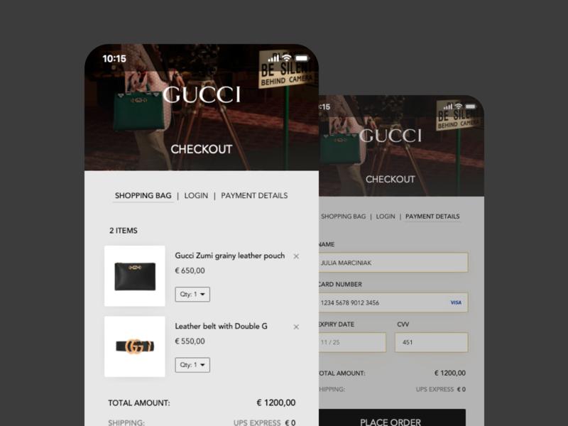 Gucci | eCommerce App details payment cart checkout concept ecommerce app ios ecommerce gucci