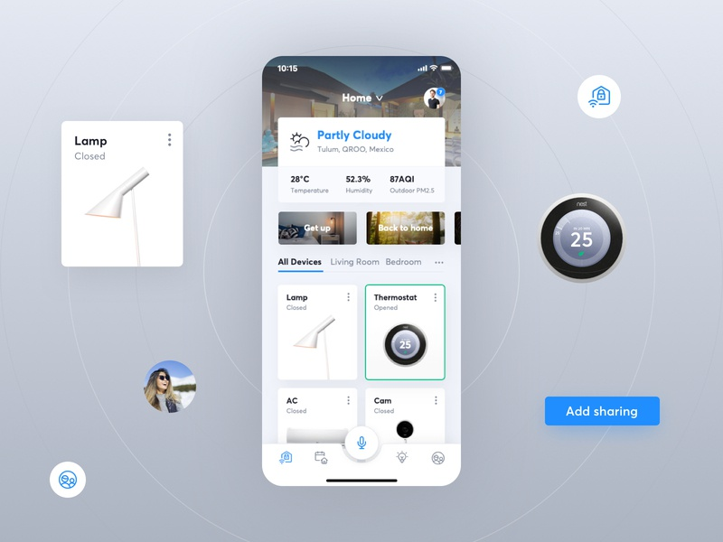 Incast   iOS Smart Home App weather ui button home automation smart home home app ios homelink