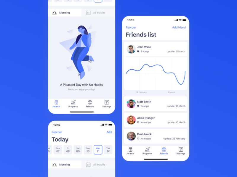 Habitify   Friends list concept users friends list friend habit tracker concept ui app ios