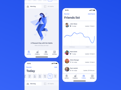 Habitify | Friends list concept users friends list friend habit tracker concept ui app ios