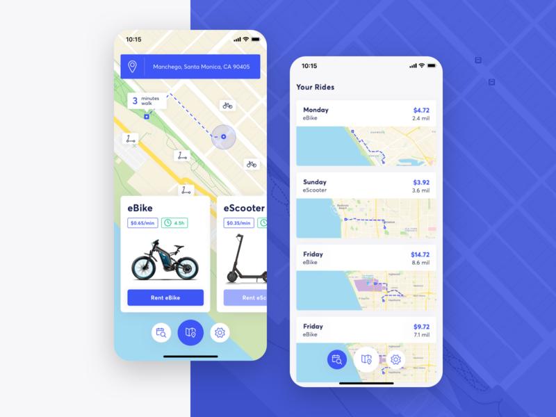 eBikey | eBike & eScooter Rent App concept app ui ios rental app rent scooter bike