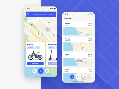 eBikey | eBike & eScooter Rent App concept app ui ios rental app rent scooter bike