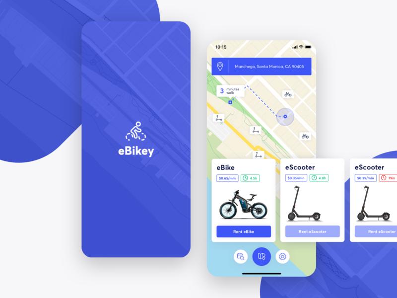 eBikey | eBike & eScooter Rent App rental app rent escooter ebike ios rentals rental scooter bike app concept
