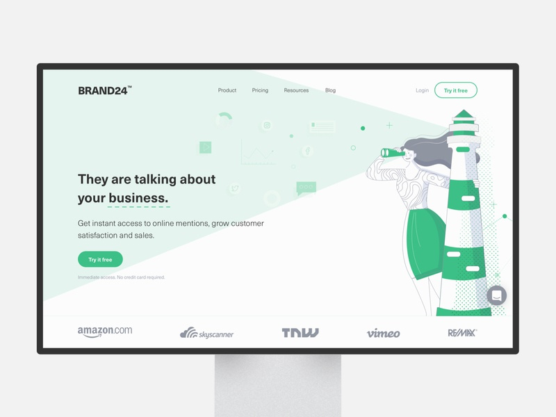 Brand24 | Landing Page vector product page monitoring people landing page design landing page landing inlabs illustration hero image hero design brand24